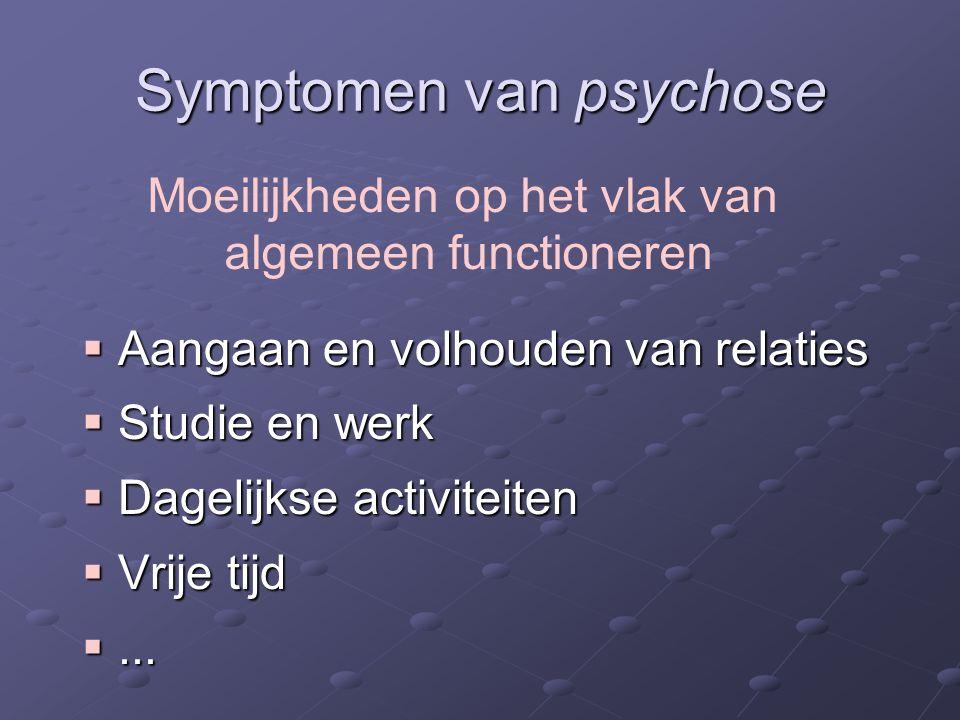 Symptomen van psychose  Aangaan en volhouden van relaties  Studie en werk  Dagelijkse activiteiten  Vrije tijd ...