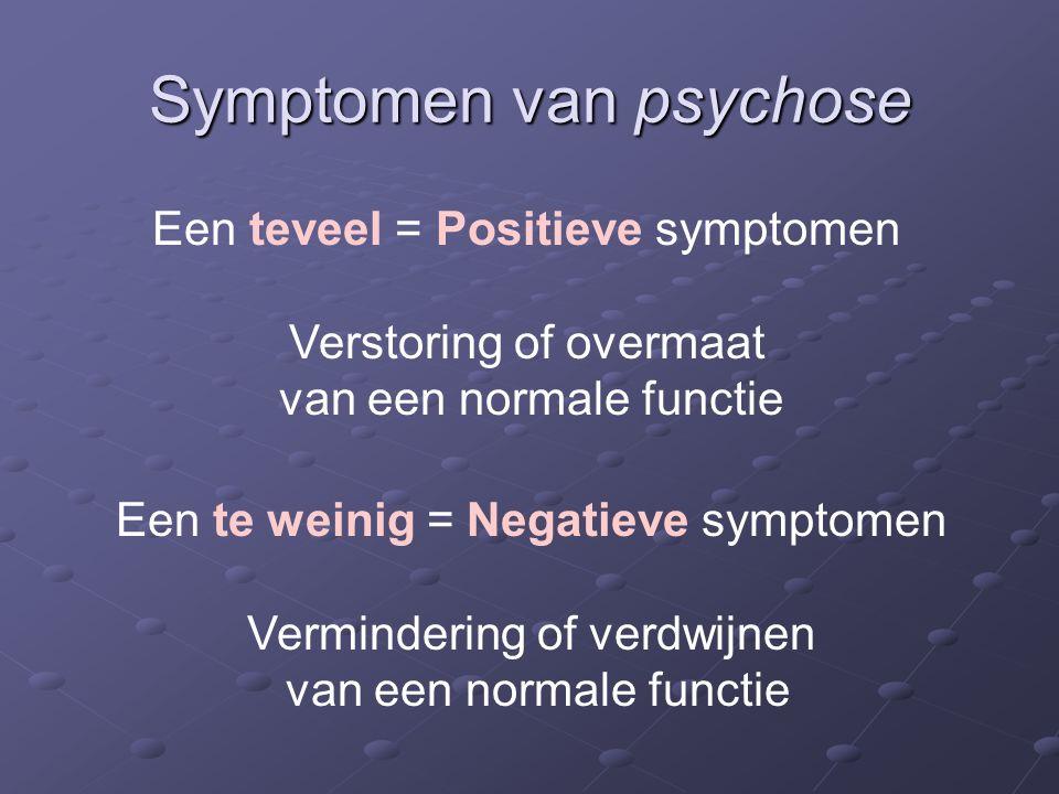 Symptomen van psychose Een teveel = Positieve symptomen Verstoring of overmaat van een normale functie Een te weinig = Negatieve symptomen Vermindering of verdwijnen van een normale functie