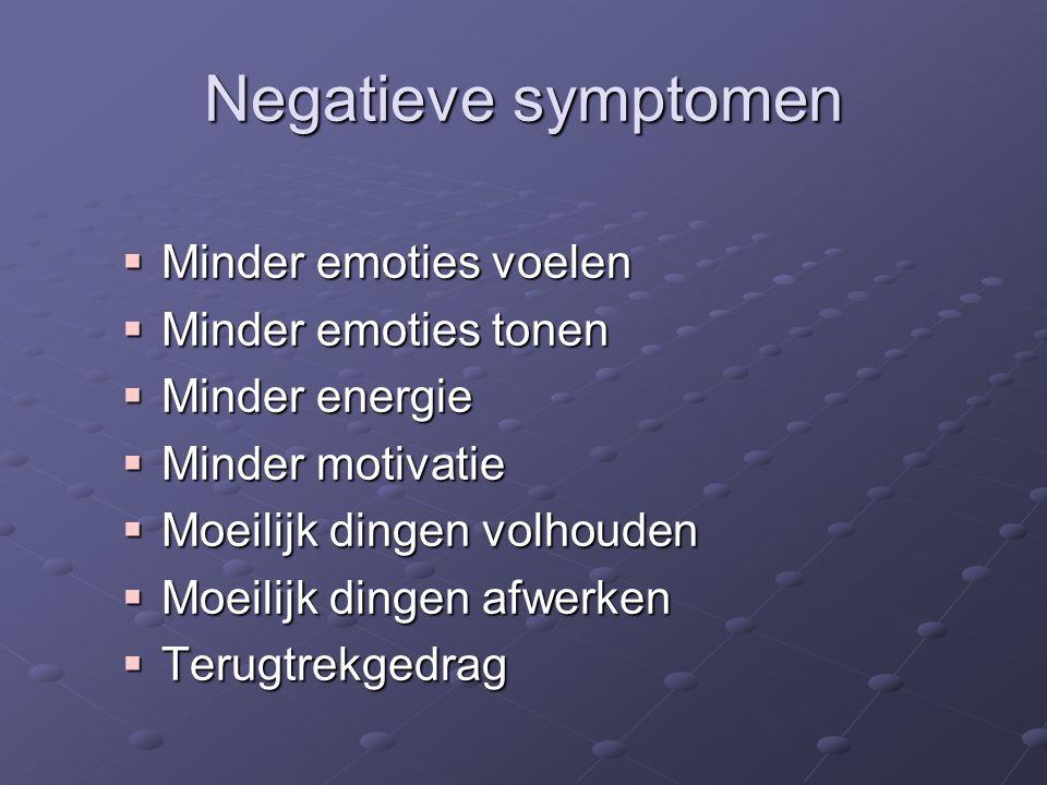Negatieve symptomen  Minder emoties voelen  Minder emoties tonen  Minder energie  Minder motivatie  Moeilijk dingen volhouden  Moeilijk dingen afwerken  Terugtrekgedrag