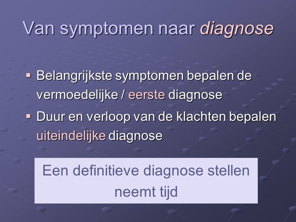 Van symptomen naar diagnose  Belangrijkste symptomen bepalen de vermoedelijke / eerste diagnose  Duur en verloop van de klachten bepalen uiteindelijke diagnose Een definitieve diagnose stellen neemt tijd