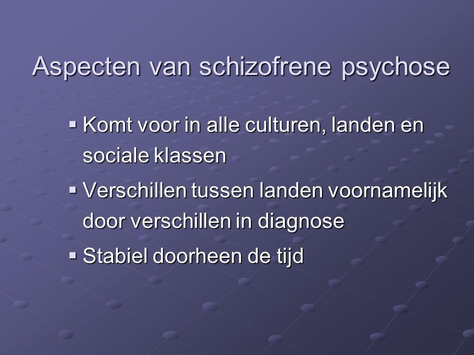  Komt voor in alle culturen, landen en sociale klassen  Verschillen tussen landen voornamelijk door verschillen in diagnose  Stabiel doorheen de tijd Aspecten van schizofrene psychose