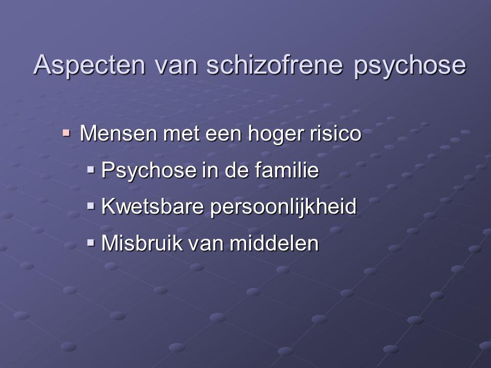  Mensen met een hoger risico  Psychose in de familie  Kwetsbare persoonlijkheid  Misbruik van middelen Aspecten van schizofrene psychose
