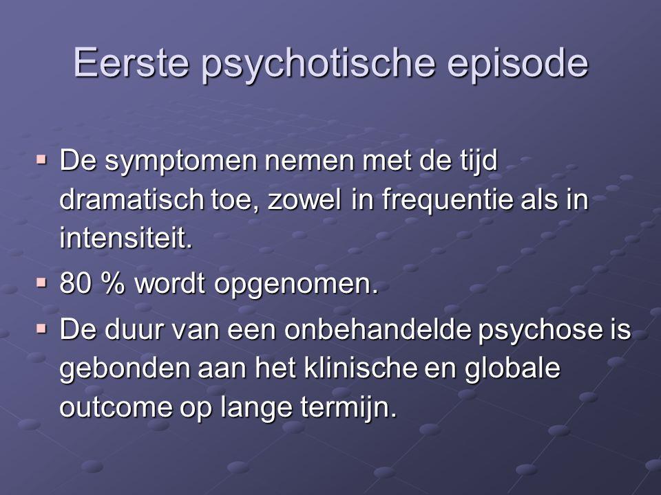 Eerste psychotische episode  De symptomen nemen met de tijd dramatisch toe, zowel in frequentie als in intensiteit.