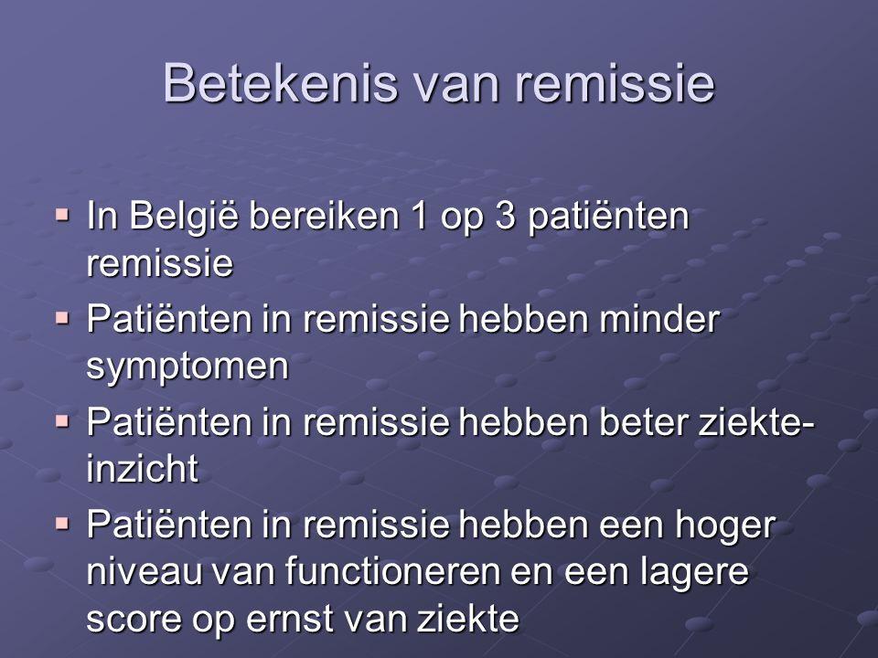 Betekenis van remissie  In België bereiken 1 op 3 patiënten remissie  Patiënten in remissie hebben minder symptomen  Patiënten in remissie hebben beter ziekte- inzicht  Patiënten in remissie hebben een hoger niveau van functioneren en een lagere score op ernst van ziekte