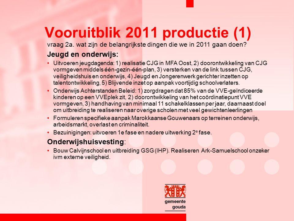 vraag 2a. wat zijn de belangrijkste dingen die we in 2011 gaan doen.