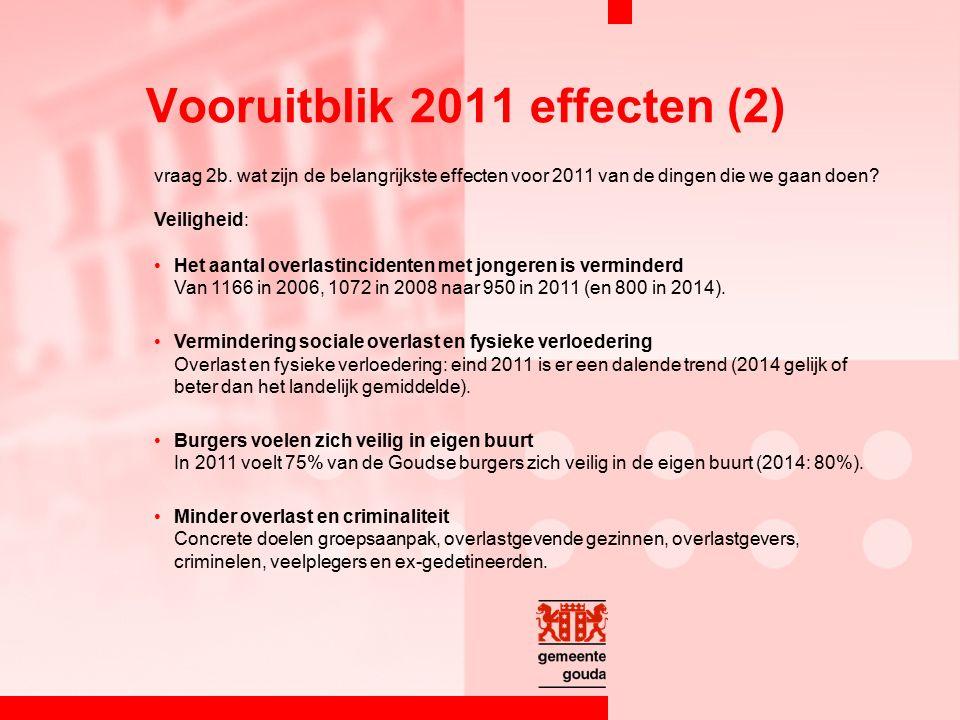 vraag 2b. wat zijn de belangrijkste effecten voor 2011 van de dingen die we gaan doen? Veiligheid: Het aantal overlastincidenten met jongeren is vermi