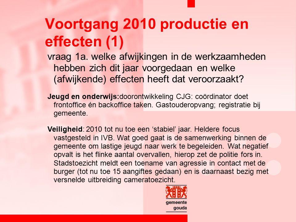 vraag 1a. welke afwijkingen in de werkzaamheden hebben zich dit jaar voorgedaan en welke (afwijkende) effecten heeft dat veroorzaakt? Jeugd en onderwi