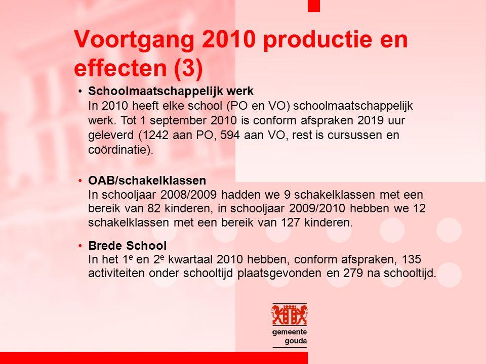 Schoolmaatschappelijk werk In 2010 heeft elke school (PO en VO) schoolmaatschappelijk werk.
