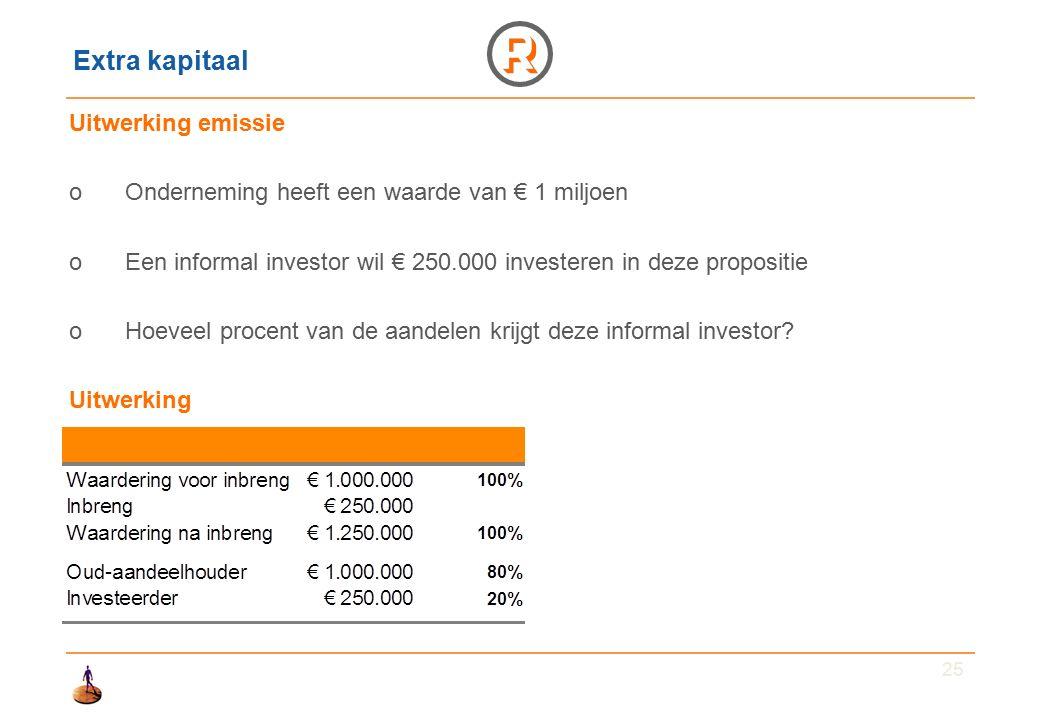 25 Extra kapitaal Uitwerking emissie oOnderneming heeft een waarde van € 1 miljoen oEen informal investor wil € 250.000 investeren in deze propositie oHoeveel procent van de aandelen krijgt deze informal investor.