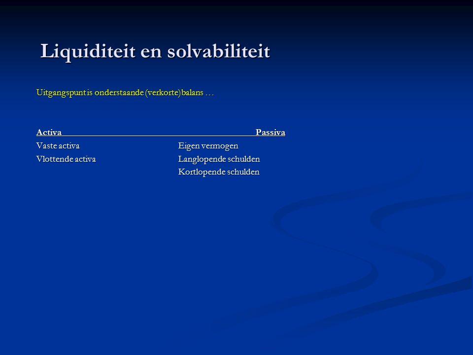 Liquiditeit en solvabiliteit Uitgangspunt is onderstaande (verkorte)balans … Activa Passiva Vaste activaEigen vermogen Vlottende activaLanglopende schulden Kortlopende schulden