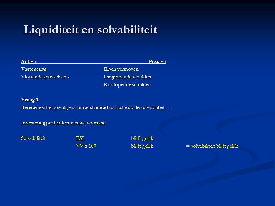 Liquiditeit en solvabiliteit Activa Passiva Vaste activaEigen vermogen Vlottende activa + en -Langlopende schulden Kortlopende schulden Vraag 1 Beredeneer het gevolg van onderstaande transactie op de solvabiliteit … Investering per bank in nieuwe voorraad SolvabiliteitEVblijft gelijk VV x 100blijft gelijk= solvabiliteit blijft gelijk