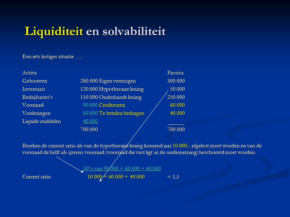 Liquiditeit en solvabiliteit Een iets lastiger situatie ….