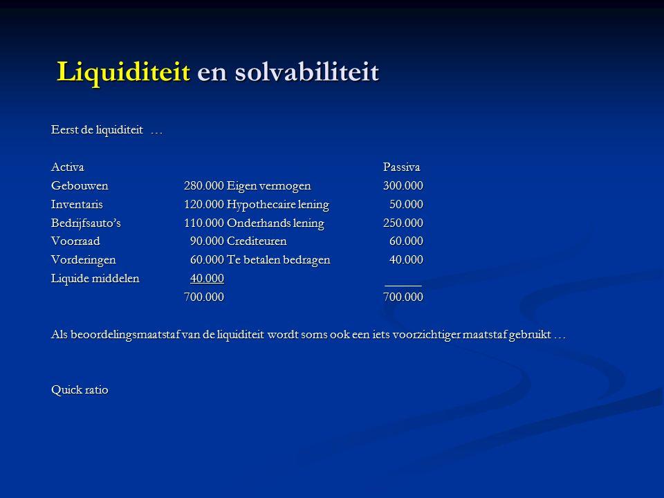 Liquiditeit en solvabiliteit Eerst de liquiditeit … ActivaPassiva Gebouwen280.000 Eigen vermogen300.000 Inventaris120.000 Hypothecaire lening 50.000 Bedrijfsauto's110.000 Onderhands lening250.000 Voorraad 90.000 Crediteuren 60.000 Vorderingen 60.000 Te betalen bedragen 40.000 Liquide middelen 40.000 700.000700.000 Als beoordelingsmaatstaf van de liquiditeit wordt soms ook een iets voorzichtiger maatstaf gebruikt … Quick ratio