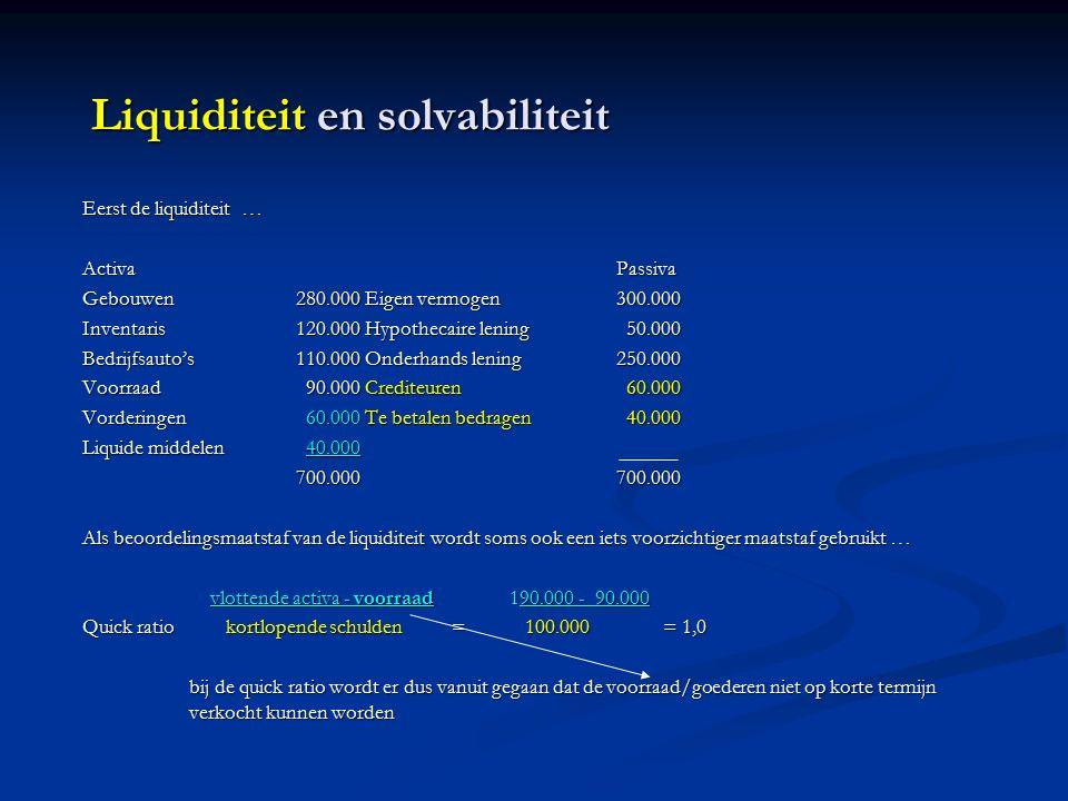 Liquiditeit en solvabiliteit Eerst de liquiditeit … ActivaPassiva Gebouwen280.000 Eigen vermogen300.000 Inventaris120.000 Hypothecaire lening 50.000 Bedrijfsauto's110.000 Onderhands lening250.000 Voorraad 90.000 Crediteuren 60.000 Vorderingen 60.000 Te betalen bedragen 40.000 Liquide middelen 40.000 700.000700.000 Als beoordelingsmaatstaf van de liquiditeit wordt soms ook een iets voorzichtiger maatstaf gebruikt … vlottende activa - voorraad190.000 - 90.000 vlottende activa - voorraad190.000 - 90.000 Quick ratio kortlopende schulden = 100.000 = 1,0 bij de quick ratio wordt er dus vanuit gegaan dat de voorraad/goederen niet op korte termijn verkocht kunnen worden
