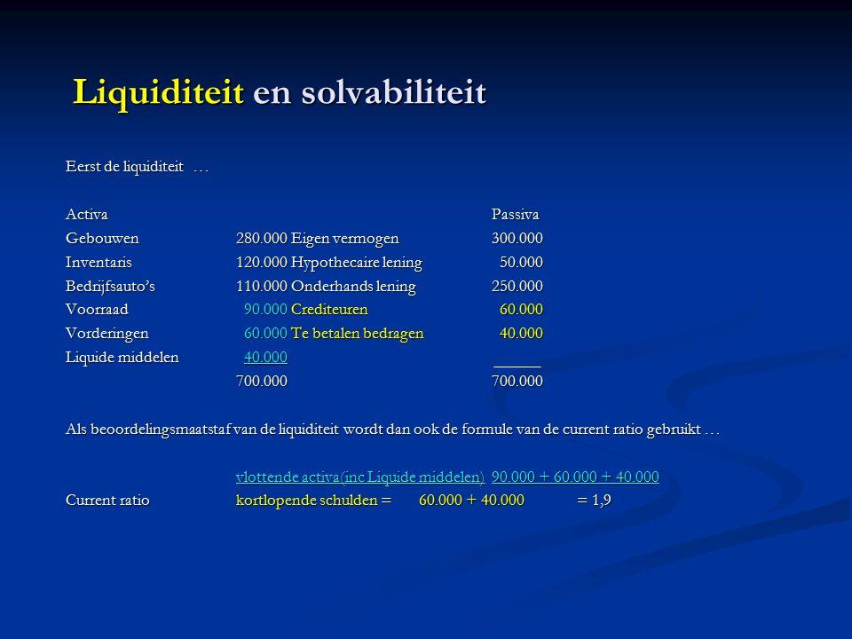 Liquiditeit en solvabiliteit Eerst de liquiditeit … ActivaPassiva Gebouwen280.000 Eigen vermogen300.000 Inventaris120.000 Hypothecaire lening 50.000 Bedrijfsauto's110.000 Onderhands lening250.000 Voorraad 90.000 Crediteuren 60.000 Vorderingen 60.000 Te betalen bedragen 40.000 Liquide middelen 40.000 700.000700.000 Als beoordelingsmaatstaf van de liquiditeit wordt dan ook de formule van de current ratio gebruikt … vlottende activa(inc Liquide middelen)90.000 + 60.000 + 40.000 Current ratiokortlopende schulden = 60.000 + 40.000= 1,9