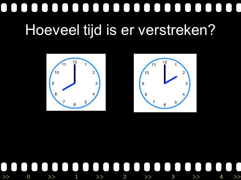 >>0 >>1 >> 2 >> 3 >> 4 >> Uitleg Op de eerste klok is het 10 uur. Op de tweede klok is het drie uur. Je telt eerst 2 uur verder naar 12 uur en dan nog