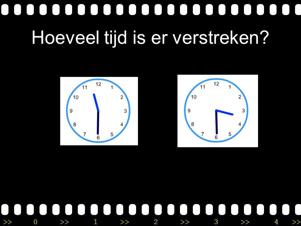 >>0 >>1 >> 2 >> 3 >> 4 >> Uitleg Het is half 5 en je moet verder tot half 8. In totaal moet je dus 3 uur verder tellen. Er is 3 uur verstreken.