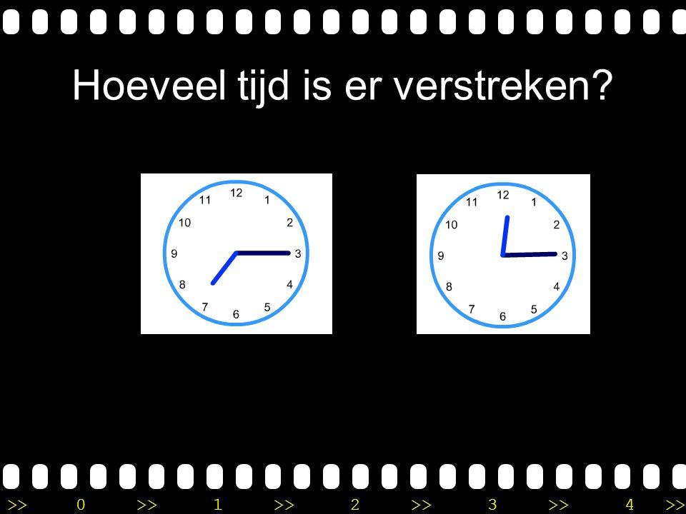 >>0 >>1 >> 2 >> 3 >> 4 >> Uitleg Het is half 12 en je moet doortellen tot half 4. Je telt dus 4 uur verder. Er is 4 uur verstreken.