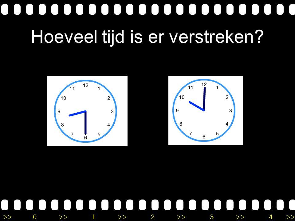 >>0 >>1 >> 2 >> 3 >> 4 >> Uitleg Het is half 5 op de eerste klok. Ik tel eerst een uur verder en dan is het dus half 6. Dan tel ik nog een half uur ve