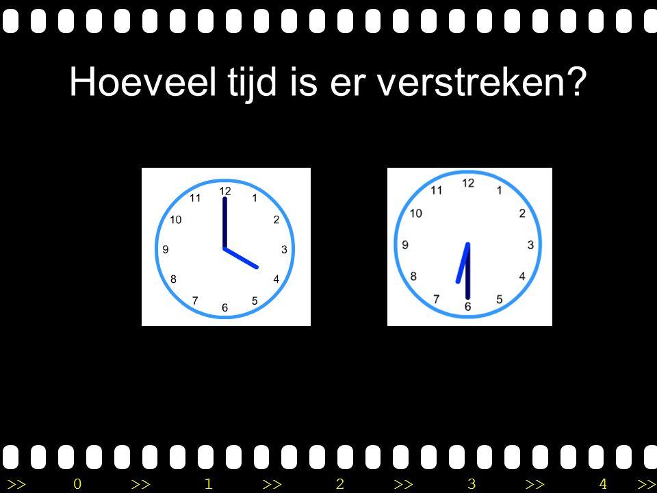 >>0 >>1 >> 2 >> 3 >> 4 >> Uitleg Het is half 9 op de eerste klok. Op de tweede klok is het 10 uur. Ik tel eerst een uur verder tot half 10, daar na mo