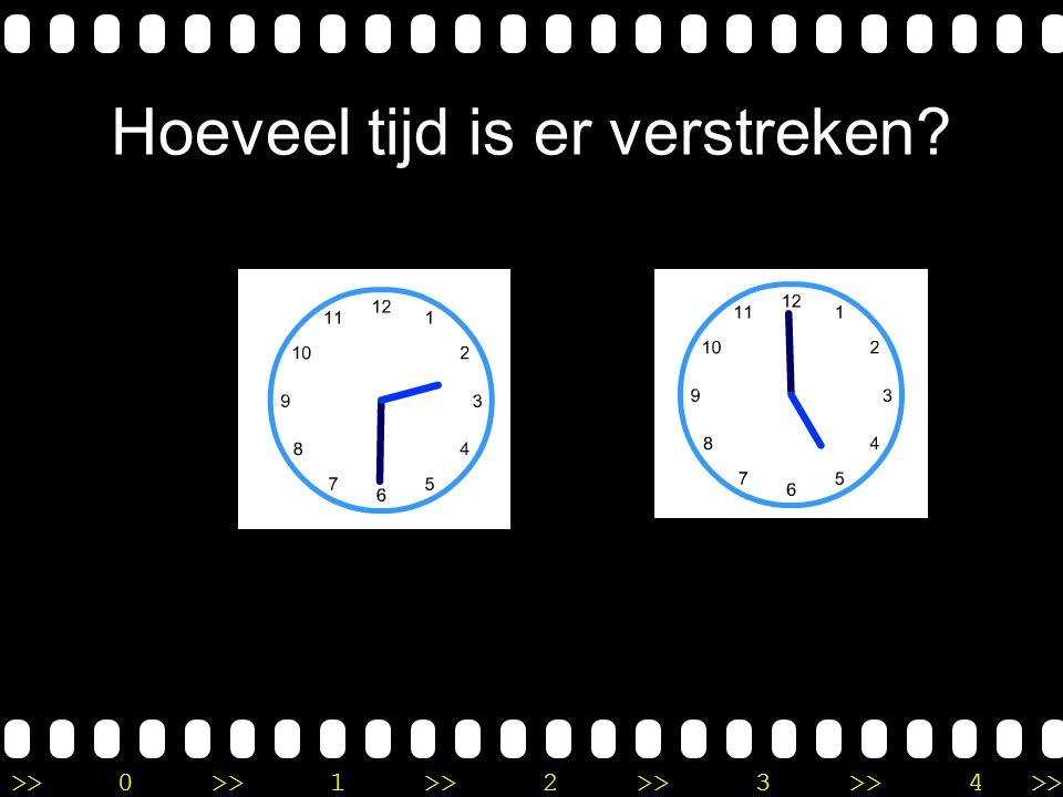 >>0 >>1 >> 2 >> 3 >> 4 >> Uitleg Het is 4 uur op de eerste klok. Op de tweede klok zie ik half 7 staan. Ik tel dus eerst 2 uur verder tot 6 uur. Daarn