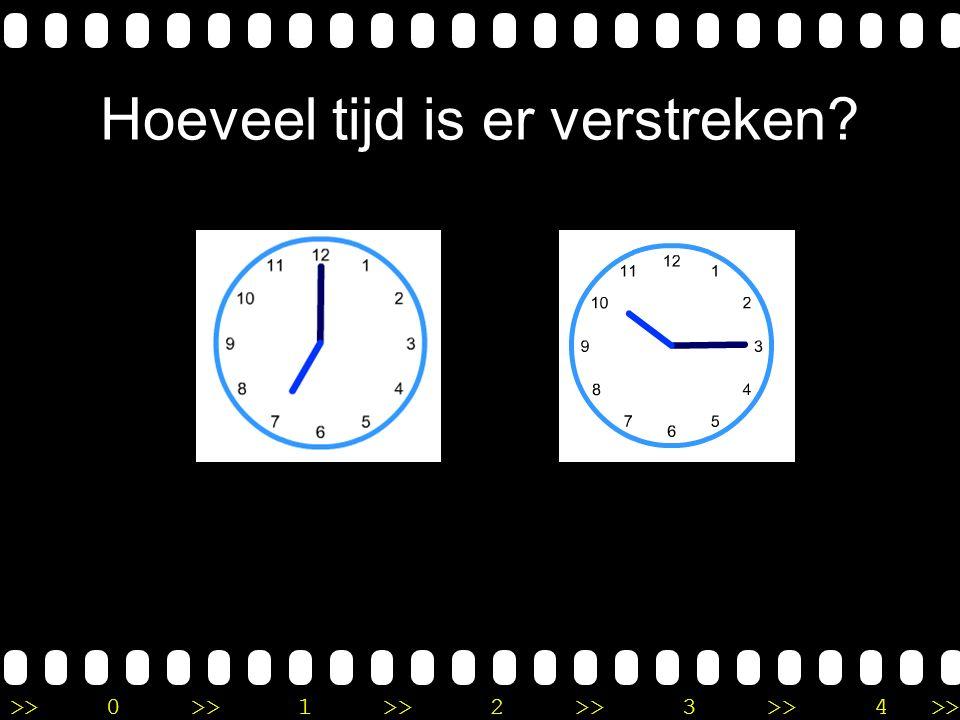 >>0 >>1 >> 2 >> 3 >> 4 >> Uitleg Het is kwart over 11 op de eerste klok en 3 uur op de tweede klok. Ik tel eerst 3 uur verder naar kwart over 2. Daarn