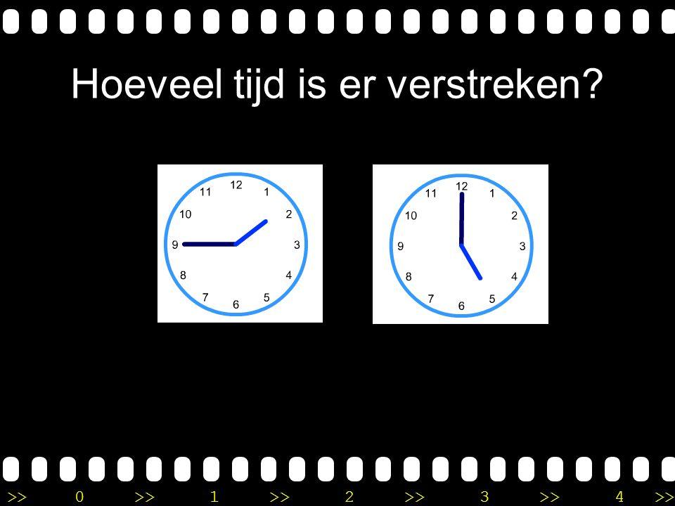 >>0 >>1 >> 2 >> 3 >> 4 >> Uitleg Op de eerste klok is het kwart over 1. Op de tweede klok is het 4 uur. Ik tel vanaf kwart over 1, 2 uur verder, dan i