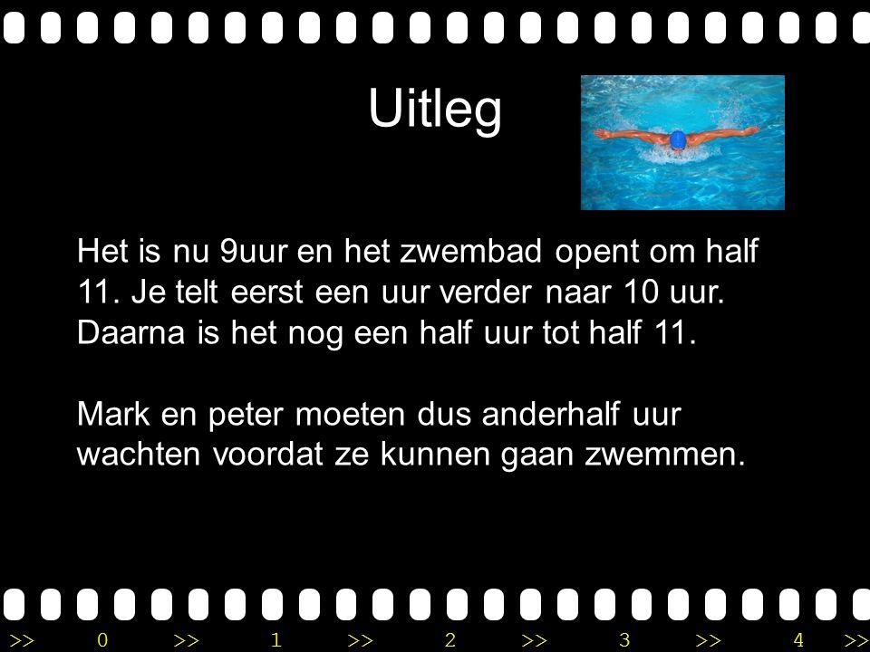 >>0 >>1 >> 2 >> 3 >> 4 >> Verhaalsommen met tijd Peter en Mark staan voor de ingang van het zwembad, maar hebben zich vergist in de openingstijd.