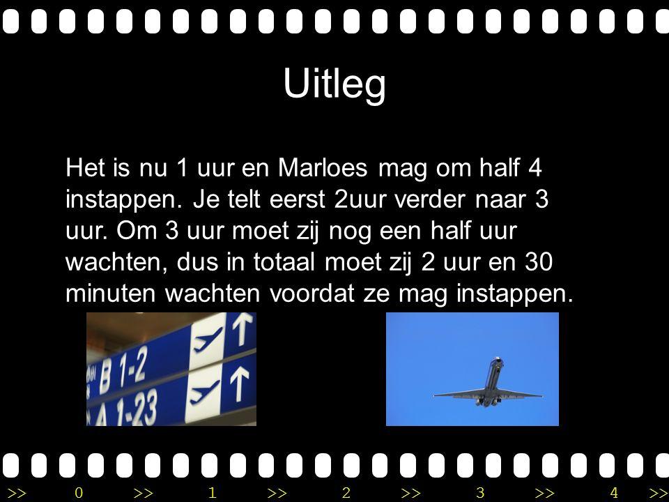 >>0 >>1 >> 2 >> 3 >> 4 >> Verhaalsommen met tijd Marloes staat op Schiphol te wachten tot zij mag instappen in het vliegtuig naar Italië.