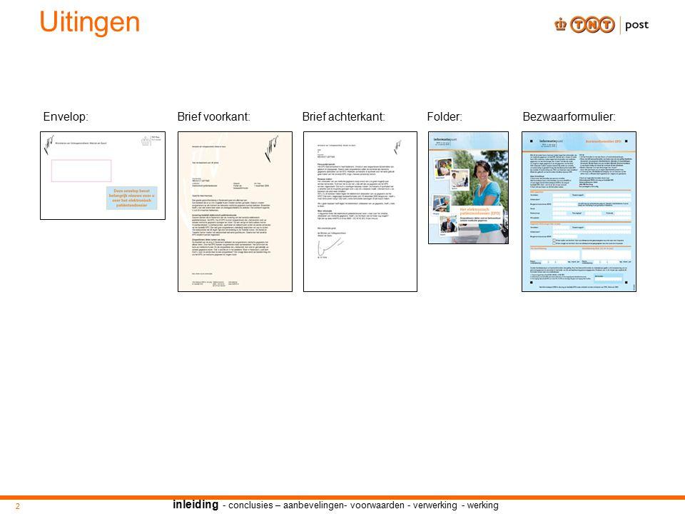 inleiding - conclusies – aanbevelingen- voorwaarden - verwerking - werking Uitingen Brief voorkant: 2 Brief achterkant:Bezwaarformulier:Folder:Envelop: