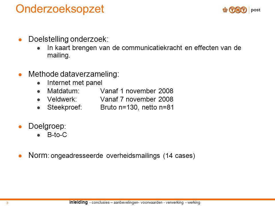 Onderzoeksopzet ● Doelstelling onderzoek: ● In kaart brengen van de communicatiekracht en effecten van de mailing.