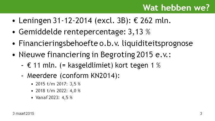3 maart 20153 Leningen 31-12-2014 (excl. 3B): € 262 mln.
