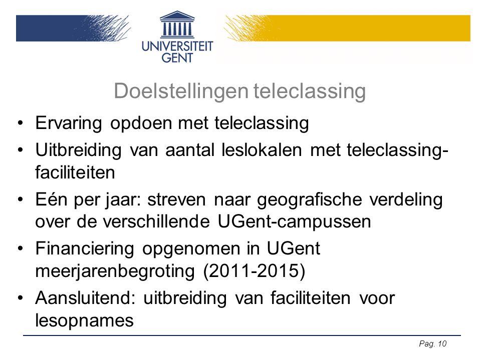 Pag. 10 Doelstellingen teleclassing Ervaring opdoen met teleclassing Uitbreiding van aantal leslokalen met teleclassing- faciliteiten Eén per jaar: st