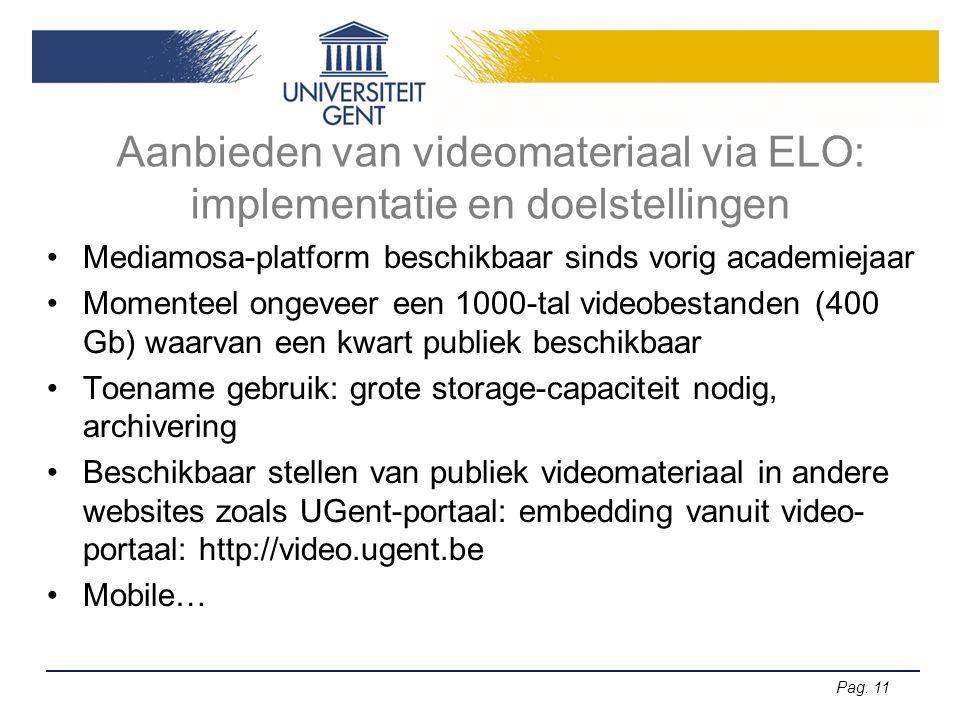 Pag. 11 Aanbieden van videomateriaal via ELO: implementatie en doelstellingen Mediamosa-platform beschikbaar sinds vorig academiejaar Momenteel ongeve