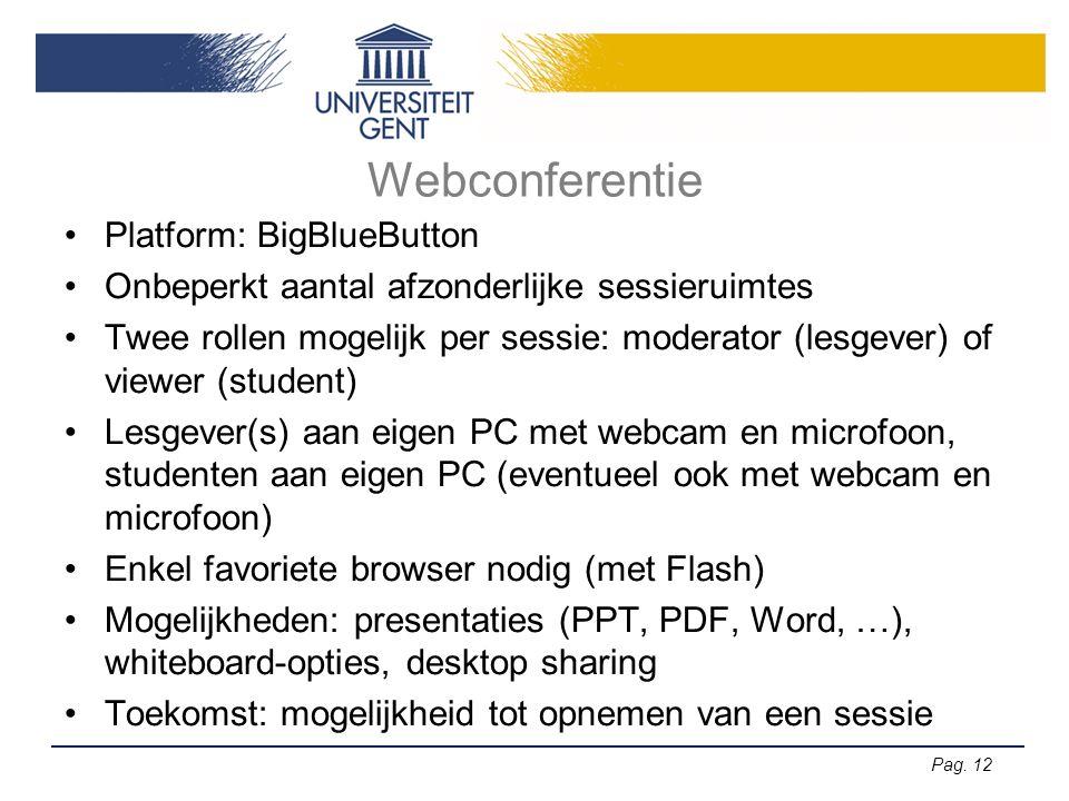 Pag. 12 Webconferentie Platform: BigBlueButton Onbeperkt aantal afzonderlijke sessieruimtes Twee rollen mogelijk per sessie: moderator (lesgever) of v