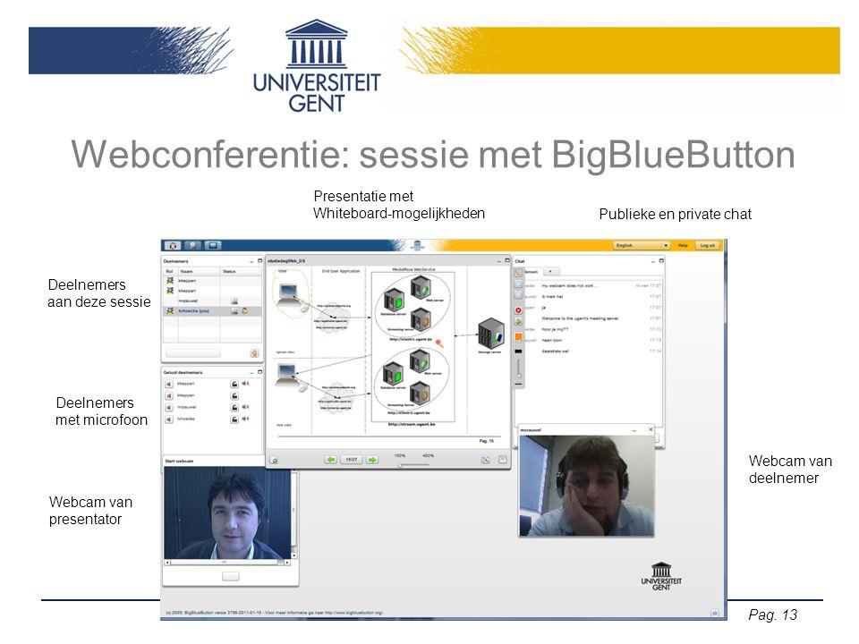 Pag. 13 Webconferentie: sessie met BigBlueButton Deelnemers aan deze sessie Deelnemers met microfoon Presentatie met Whiteboard-mogelijkheden Webcam v