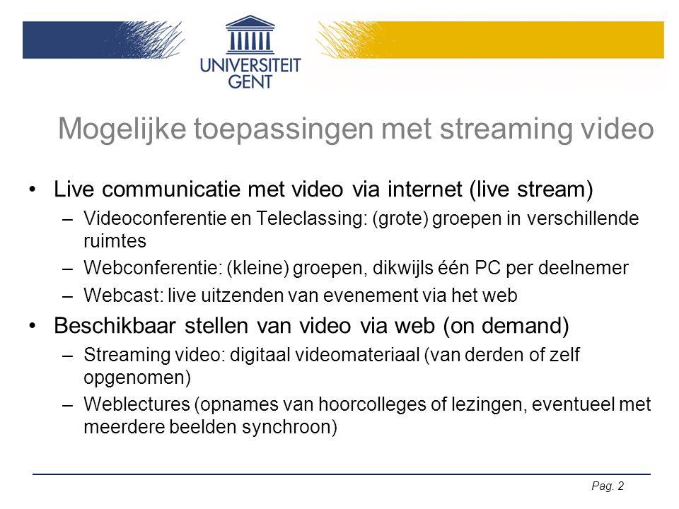 Pag. 2 Mogelijke toepassingen met streaming video Live communicatie met video via internet (live stream) –Videoconferentie en Teleclassing: (grote) gr