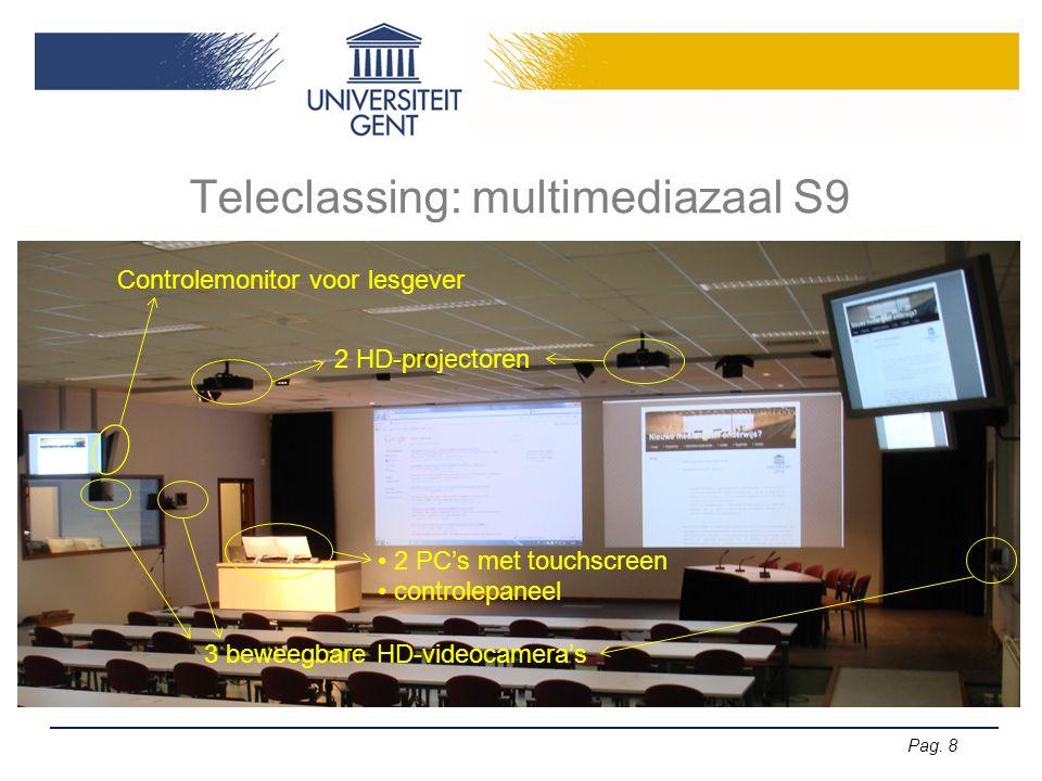 Pag. 8 Teleclassing: multimediazaal S9 2 HD-projectoren 2 PC's met touchscreen controlepaneel 3 beweegbare HD-videocamera's Controlemonitor voor lesge