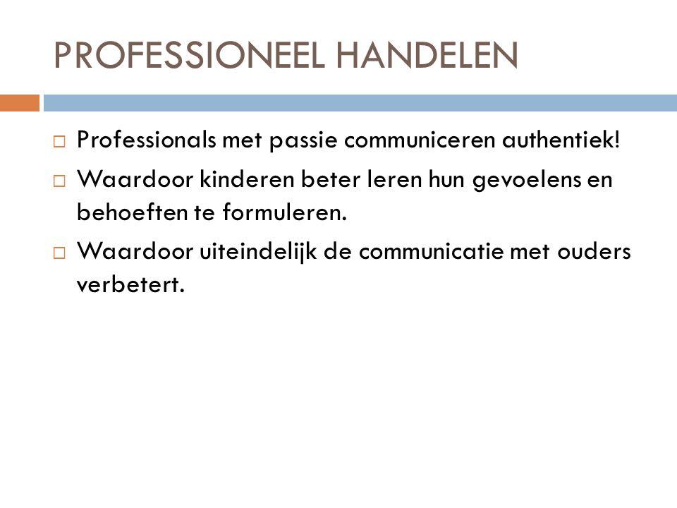 PROFESSIONEEL HANDELEN  Professionals met passie communiceren authentiek.