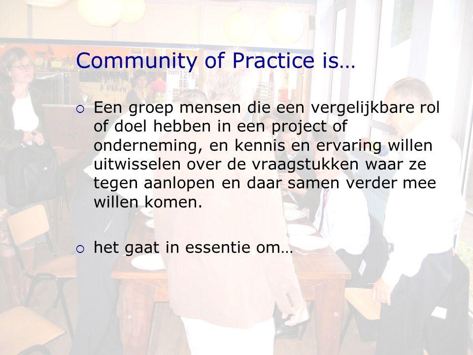 Community of Practice is…  Een groep mensen die een vergelijkbare rol of doel hebben in een project of onderneming, en kennis en ervaring willen uitwisselen over de vraagstukken waar ze tegen aanlopen en daar samen verder mee willen komen.