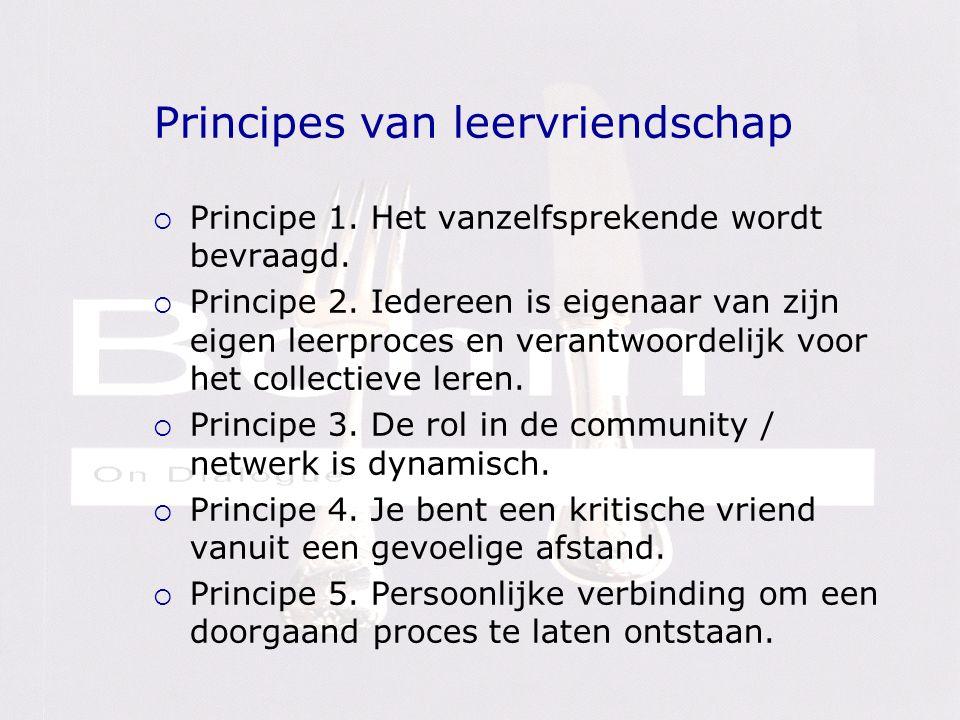Principes van leervriendschap  Principe 1. Het vanzelfsprekende wordt bevraagd.