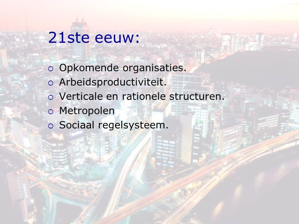 21ste eeuw:  Opkomende organisaties.  Arbeidsproductiviteit.