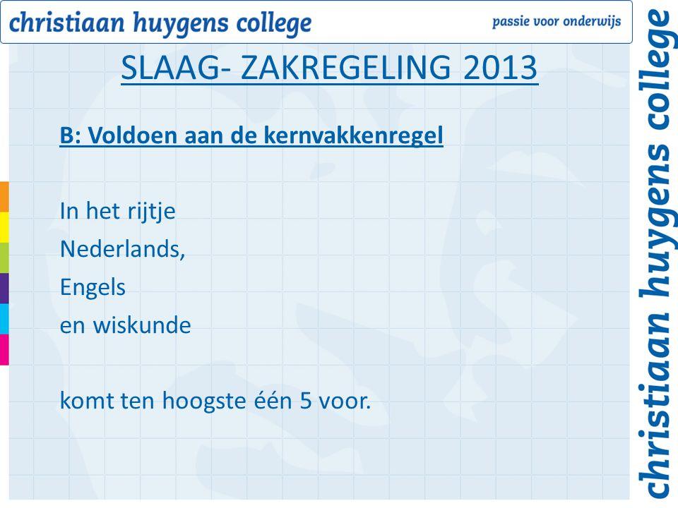 B: Voldoen aan de kernvakkenregel In het rijtje Nederlands, Engels en wiskunde komt ten hoogste één 5 voor.