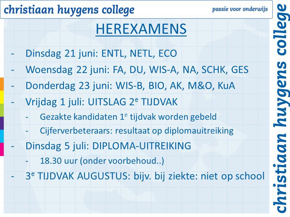 -Dinsdag 21 juni: ENTL, NETL, ECO -Woensdag 22 juni: FA, DU, WIS-A, NA, SCHK, GES -Donderdag 23 juni: WIS-B, BIO, AK, M&O, KuA -Vrijdag 1 juli: UITSLAG 2 e TIJDVAK -Gezakte kandidaten 1 e tijdvak worden gebeld -Cijferverbeteraars: resultaat op diplomauitreiking -Dinsdag 5 juli: DIPLOMA-UITREIKING -18.30 uur (onder voorbehoud..) -3 e TIJDVAK AUGUSTUS: bijv.