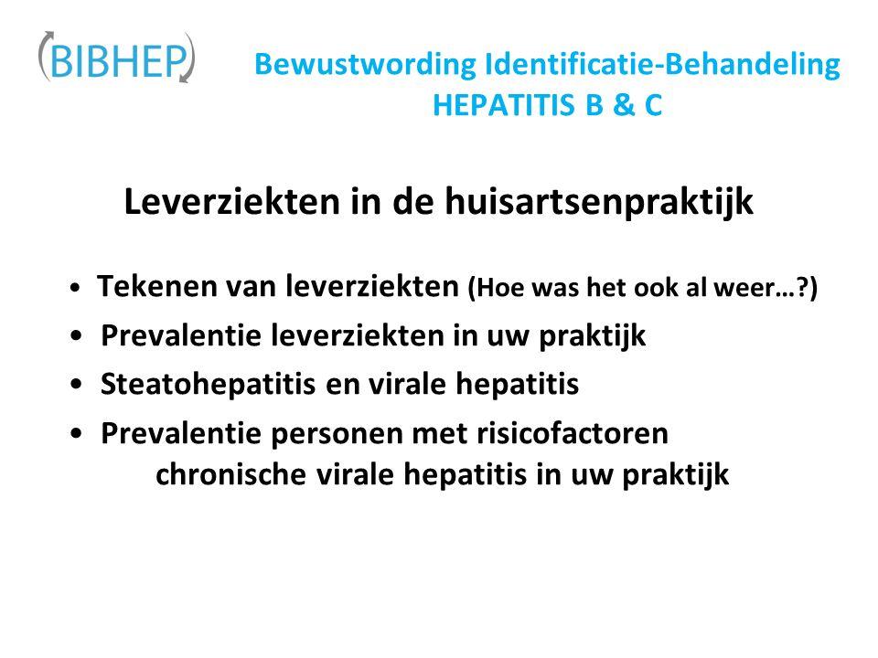 Bewustwording Identificatie-Behandeling HEPATITIS B & C Leverziekten in de huisartsenpraktijk Tekenen van leverziekten (Hoe was het ook al weer… ) Prevalentie leverziekten in uw praktijk Steatohepatitis en virale hepatitis Prevalentie personen met risicofactoren chronische virale hepatitis in uw praktijk