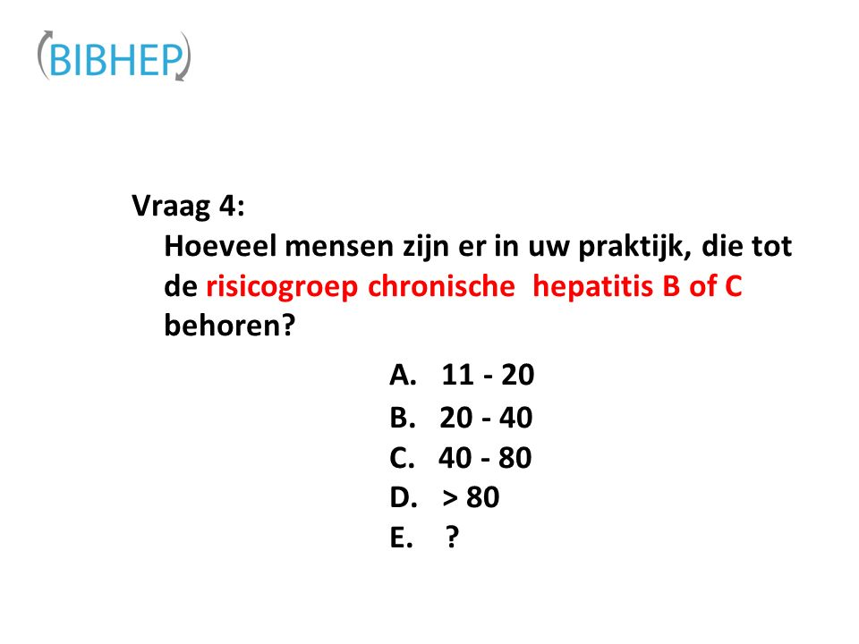 Vraag 4: Hoeveel mensen zijn er in uw praktijk, die tot de risicogroep chronische hepatitis B of C behoren.