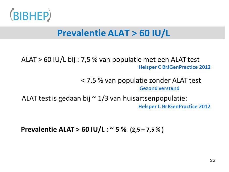 Prevalentie ALAT > 60 IU/L 22 ALAT > 60 IU/L bij : 7,5 % van populatie met een ALAT test Prevalentie ALAT > 60 IU/L : ~ 5 % (2,5 – 7,5 % ) ALAT test is gedaan bij ~ 1/3 van huisartsenpopulatie: < 7,5 % van populatie zonder ALAT test Helsper C BrJGenPractice 2012 Gezond verstand Helsper C BrJGenPractice 2012