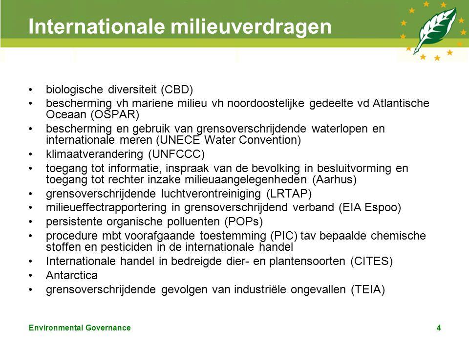 Environmental Governance4 Internationale milieuverdragen biologische diversiteit (CBD) bescherming vh mariene milieu vh noordoostelijke gedeelte vd Atlantische Oceaan (OSPAR) bescherming en gebruik van grensoverschrijdende waterlopen en internationale meren (UNECE Water Convention) klimaatverandering (UNFCCC) toegang tot informatie, inspraak van de bevolking in besluitvorming en toegang tot rechter inzake milieuaangelegenheden (Aarhus) grensoverschrijdende luchtverontreiniging (LRTAP) milieueffectrapportering in grensoverschrijdend verband (EIA Espoo) persistente organische polluenten (POPs) procedure mbt voorafgaande toestemming (PIC) tav bepaalde chemische stoffen en pesticiden in de internationale handel Internationale handel in bedreigde dier- en plantensoorten (CITES) Antarctica grensoverschrijdende gevolgen van industriële ongevallen (TEIA)