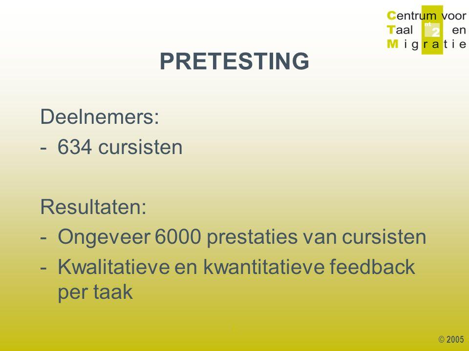 © 2005 1 Deelnemers: -634 cursisten Resultaten: -Ongeveer 6000 prestaties van cursisten -Kwalitatieve en kwantitatieve feedback per taak PRETESTING