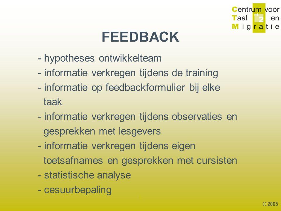 © 2005 1 - hypotheses ontwikkelteam - informatie verkregen tijdens de training - informatie op feedbackformulier bij elke taak - informatie verkregen tijdens observaties en gesprekken met lesgevers - informatie verkregen tijdens eigen toetsafnames en gesprekken met cursisten - statistische analyse - cesuurbepaling FEEDBACK